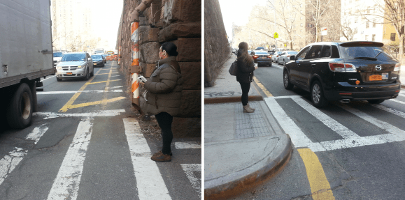 Some intersections on Park Avenue in East Harlem already have the concrete curb extensions, while others wait for them. Photos: Stephen Miller