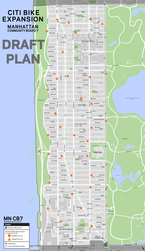 DOT is planning 39 bike-share stations between 59th and 107th streets. Map: DOT [PDF]