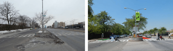 The conceptual design would add bus lanes, something DOT has not included in its plans for Queens Boulevard. Image: Hunter College
