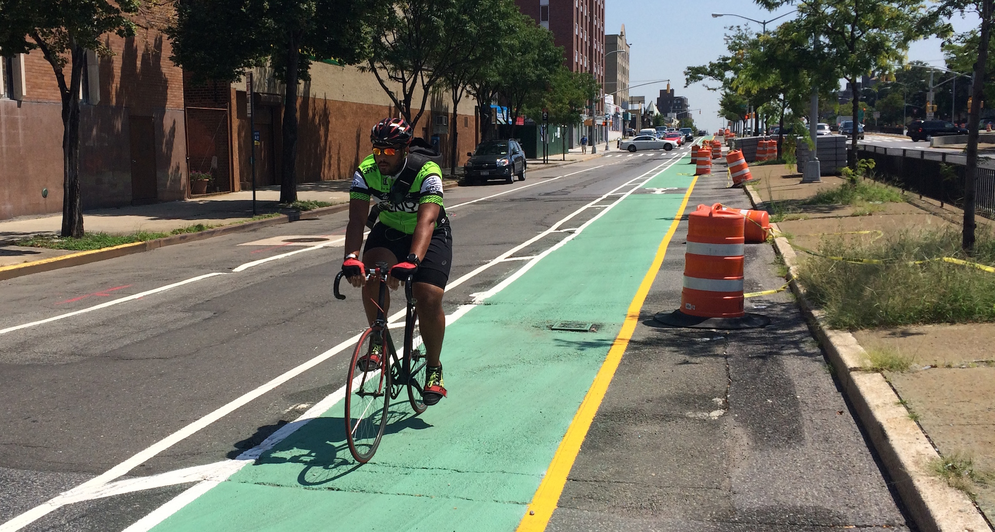 Behold the Queens Boulevard bike lane. Photo: Stephen Miller