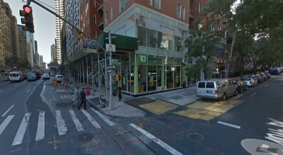 Southwest corner of Second Avenue and E. 49th Street, where a driver came to a stop after hitting three people on the sidewalk, pinning Mallory Weisbrod to a pole. Weisbrod died. The driver was not charged. Image: Google Maps