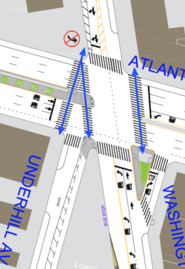 The intersection has two new crosswalks and larger sidewalks and medians, among other changes. Image: DOT [PDF]