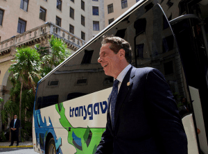 Cuomo gets off a bus in Havana. Photo: Governor's Office/Flickr