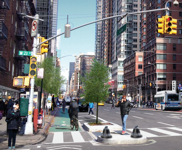 What Sixth Avenue could look like. Rendering: The Street Plans Collaborative and Carly Clark for Transportation Alternatives [PDF]