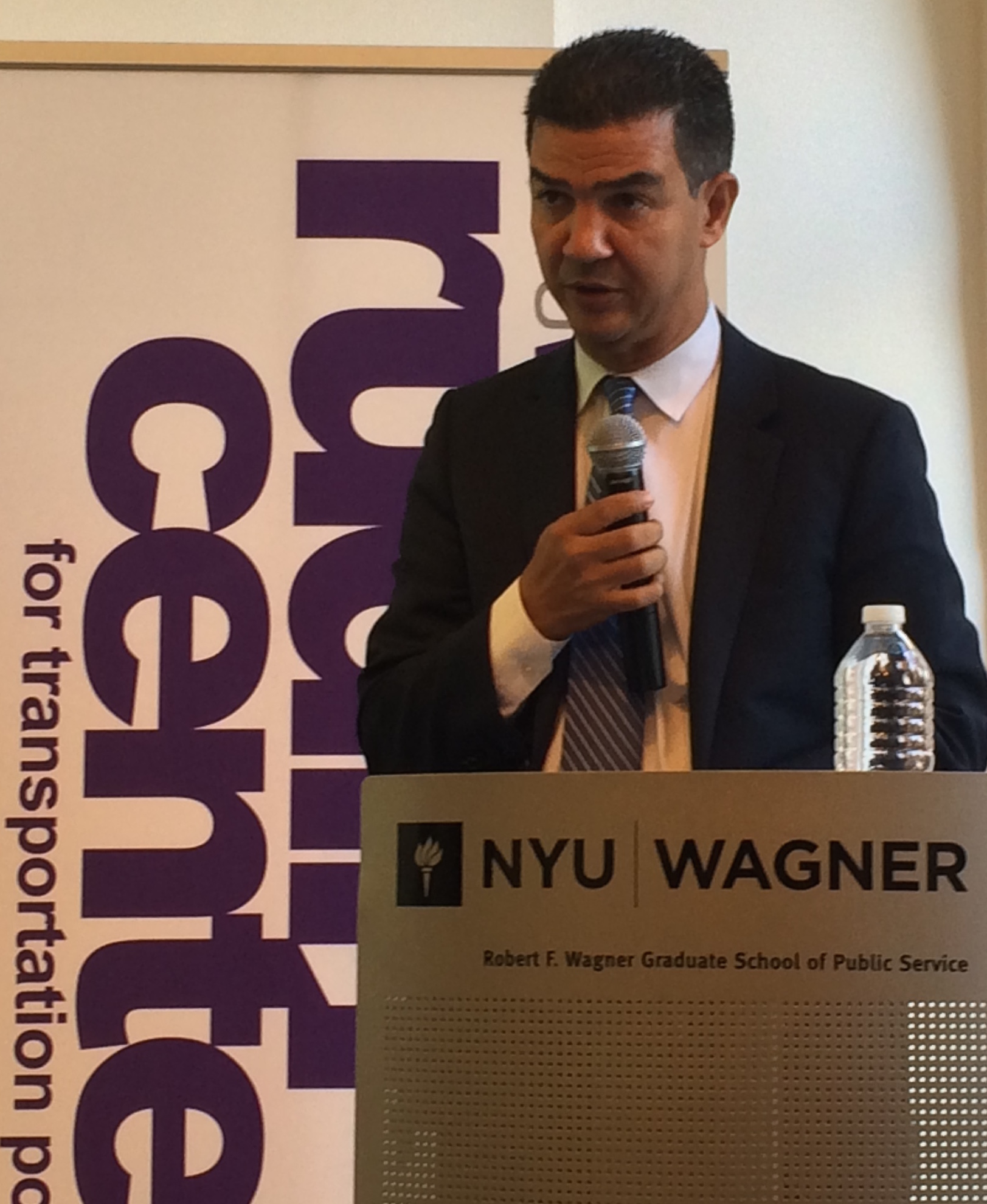 City Council Transportation Committee Chair Ydanis Rodriguez outlines his transportation vision this morning. Photo: Stephen Miller