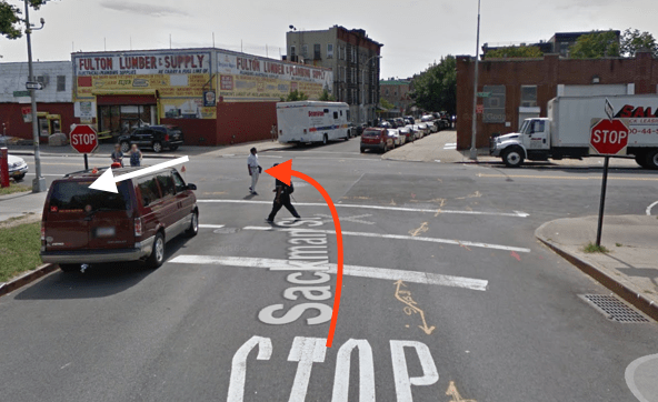 An MTA bus driver killed a senior at a Brooklyn intersection. The red arrow represents the approximate path of the bus, and the white arrow the approximate path of the victim, according to NYPD's account of the crash. Image: Google Maps