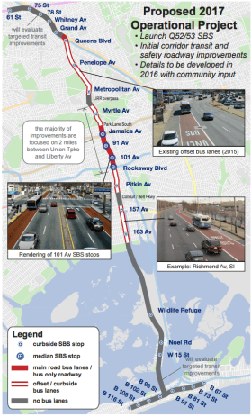 DOT's proposal for the 2017 launch of the new Woodhaven Boulevard SBS will feature far fewer miles of main road bus lanes than originally expected. Image: DOT