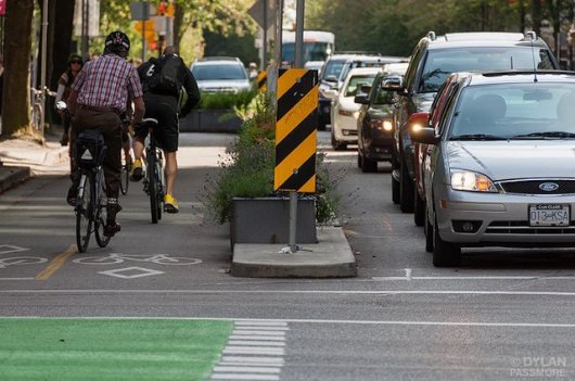 Streetsblog readers are thrilled at the prospect of protected lanes like this running across Midtown Manhattan. Image: Dylan Passmore