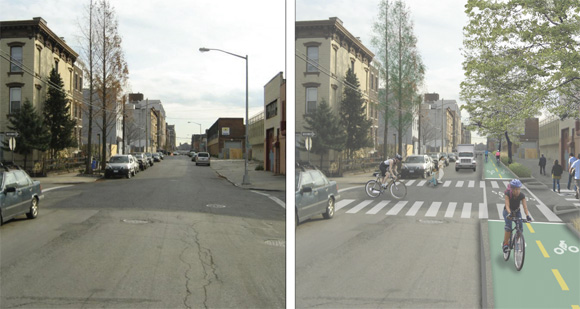 A preliminary rendering of the two-way bikeway and planted buffer slated for West Street in Greenpoint. Image: DDC