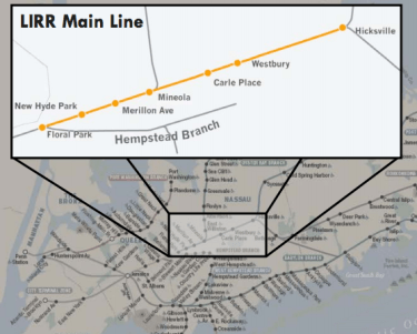The governor is proposing the construction of a third track along this 9.8 mile stretch of the Long Island Railroad. Image: Long Island Index