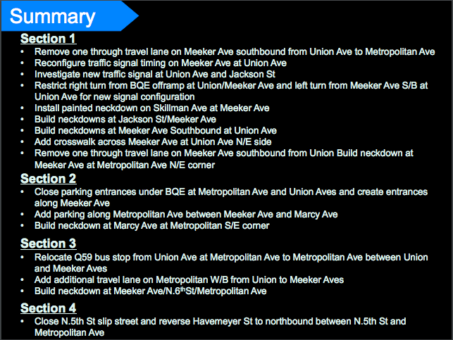 DOT is proposing these 16 changes to make Meeker Avenue safer. Image: DOT