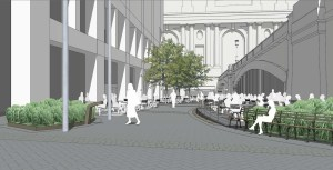 Project rendering of the future Pershing Square West pedestrian plaza. Image: Quennell Rothschild/NYC DDC