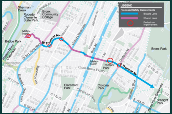 DOT's plan for Tremont Avenue will install a number of treatments, primarily dedicated lanes and sharrows, to create the first east-west bike route in the western Bronx. Image: DOT