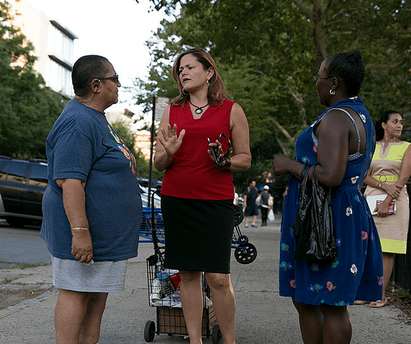 Council Speaker Melissa Mark-Viverito greets constituents in her East Harlem district, which is slated for upzoning as part of the mayor's plan to increase the city's affordable housing stock. Image: William Alatriste