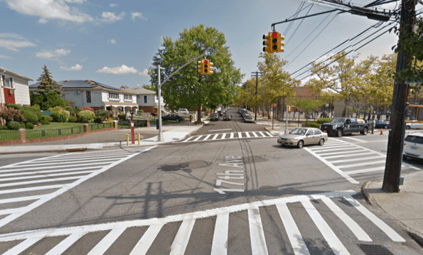 The Whitestone intersection where a turning driver mortally injured 90-year-old Dorothy Heimann. Image: Google Maps