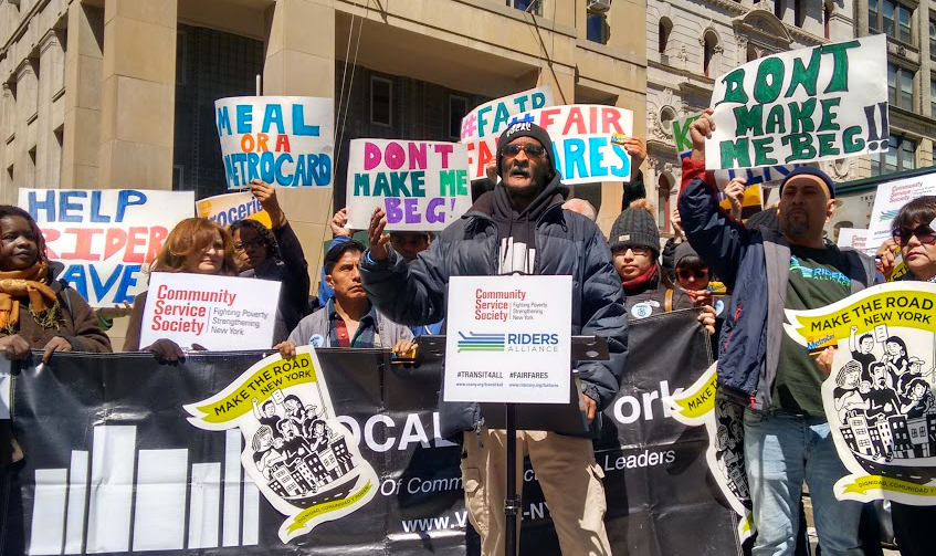 A coalition led by Riders Alliance and the Community Service Society of New York is calling for reduced transit fares for the poorest New Yorkers. Photo: David Meyer