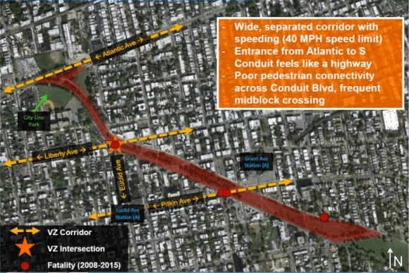 Conduit Boulevard, a highway-like road in on the eastern Brooklyn-Queens border, has seen four pedestrian fatalities since 2008. Image: DOT