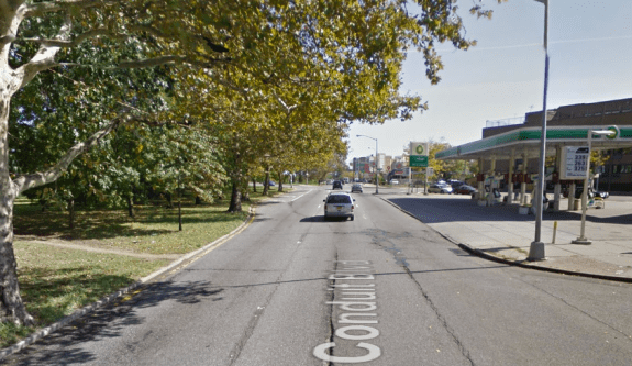 Beaten paths, like this one at S. Conduit and Autumn Avenue, indicate significant pedestrian foot traffic on the corridor despite a lack of crosswalks. Image: Google Maps
