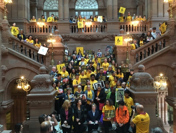 """Not one more."" Street safety advocates and students join Assembly Member Deborah Glick in calling on Albany to allow speed cameras at every school in NYC. Photo: Brad Aaron"