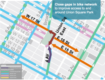 DOT's plan would also bring new bike lanes to East 15th, East 16th, and West 17th Streets. Image: DOT