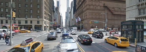 W. 57th Street at Seventh Avenue, where a driver hit and killed 80-year-old Richard Headley. Image: Google Maps