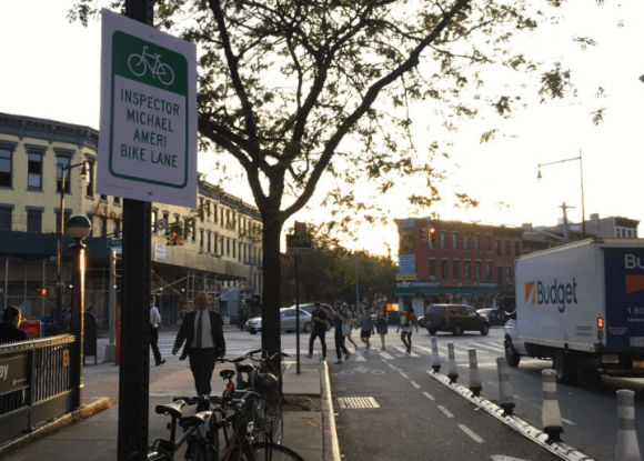 The unofficial Michael Ameri bike lane on Bergen Street. Photo: @BrooklynSpoke