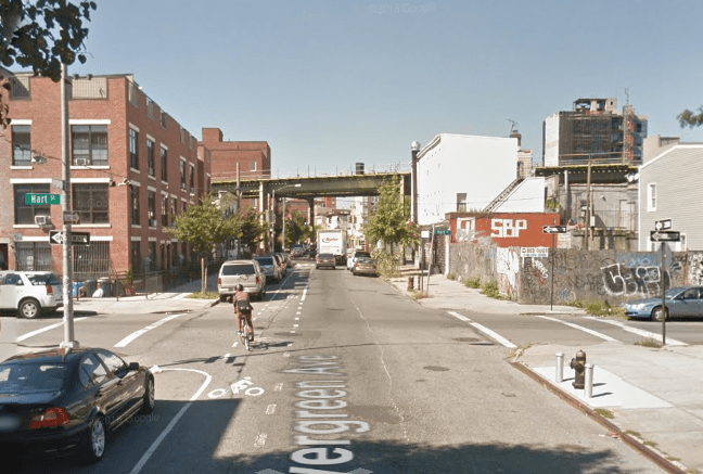 Joseph Cherry struck and killed 27-year-old Leah Sylvain while she biked up the Evergreen Avenue bike lane early this morning. Photo: Google Maps