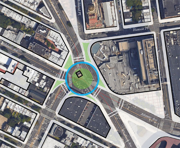 The Flatbush/Atlantic/Fourth traffic circle conceptfrom Perkins Eastman,with bike lane in blue.