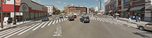 Pedestrians crossing the Flatbush-Atlantic intersection must contend with some of Brooklyn's heaviest motor vehicle traffic. Photo: Google Maps