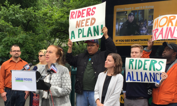 In May, Gale Brewer (podium) expressed interest in a bus-only 14th Street at a press conference hosted by Riders Alliance. Photo: David Meyer