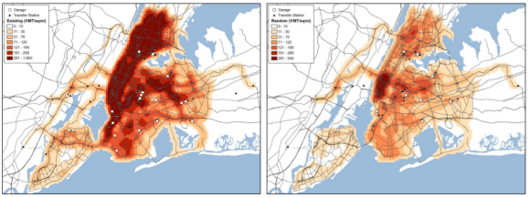 The density of private waste collection routes today (left), and in a hypothetical zoned system (right). Image: DSNY