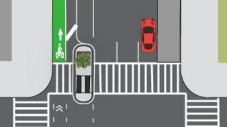 A rendering of a typical pedestrian refuge island on Amsterdam Avenue. Image: DOT