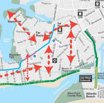 Missing bike connections identified in initial public meetings for the city's transportation study of the eastern Rockaways. Image: DOT