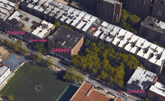 A developer wants to build affordable housing on the sites of three parking garages between Amsterdam Avenue and Columbus Avenue on West 108th Street. Photo: Google Maps
