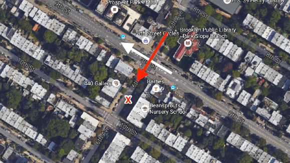 "The white arrow indicates the direction of the witness to Wednesday's crash. The red arrow indicates the path of the driver. The red ""X"" is the approximate location where the driver stopped, based on photos of the scene. Image: Google Maps"