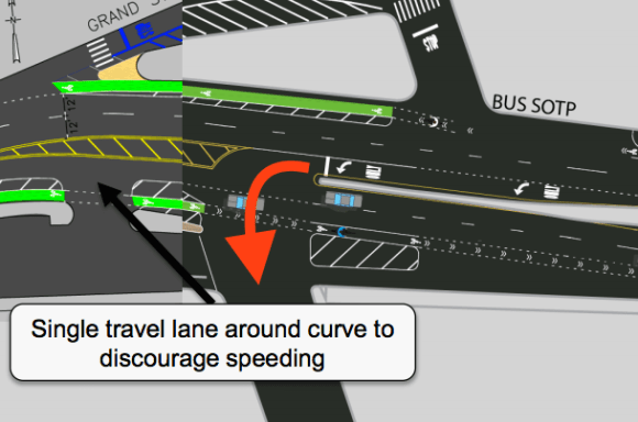 "CB 1 members cited this ""extremely dangerous"" left turn (red arrow) as justification for tabling DOT's proposal for bike lanes on the Metropolitan Avenue Bridge last month. Image: DOT"