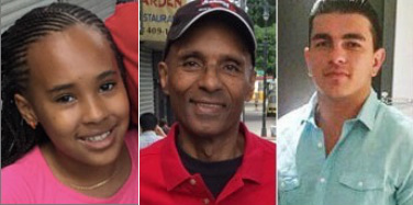 Nyanna Aquil, left, her grandfather Louis Perez, and Kristian Leka were killed in the Bronx by a curb-jumping driver last Halloween. Bronx DA Darcel Clark charged Howard Unger with multiple counts of manslaughter, assault, and homicide for the crash.
