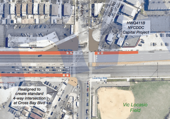 A driver killed 13-year-old Jazmine Martin yesterday at this intersection, which get a left-turn and expanded pedestrian space in DOT's Woodhaven SBS plan. Image: DOT