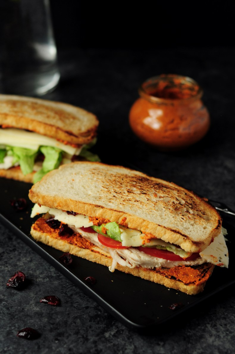 Delicious turkey sandwich assembled with turkey breast, cranberry, fresh tomatoes, lettuce, Havarti cheese and chipotle pecan pesto. Ready in 15 minutes!