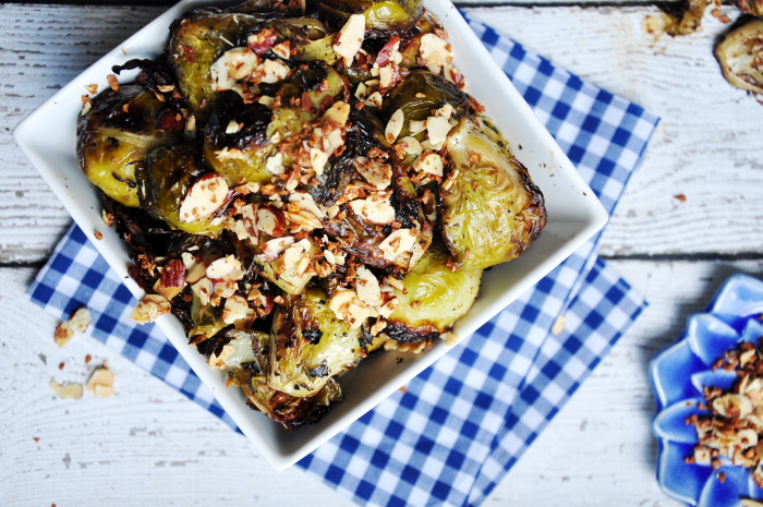Roasted Brussels Sprouts With Crispy Garlice and Almond