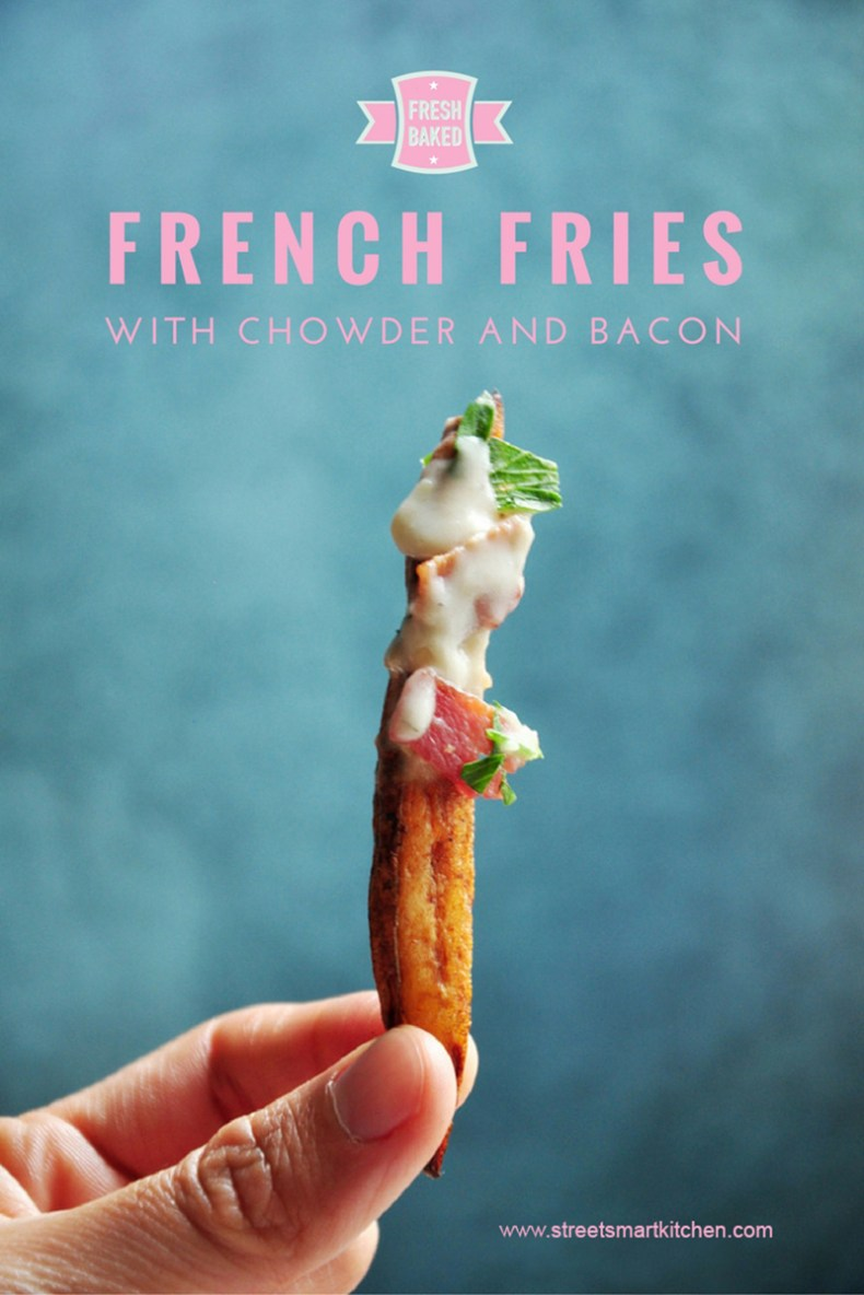 Fresh baked french fries drizzled with clam chowder and crispy bacon. These are game-changing fries made healthy and super duper yummy!