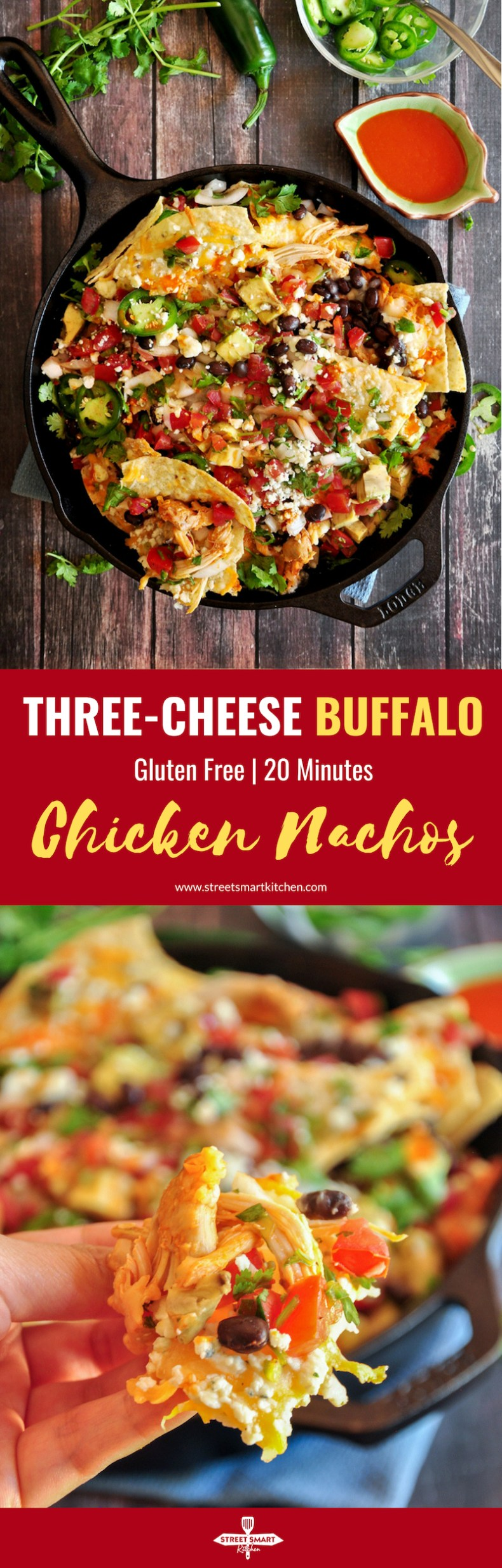 The best gooey, tangy, spicy buffalo chicken nachos you've ever had. Loaded with three types of cheese and fresh, Mexican-style ingredients. Ready in 20 minutes.