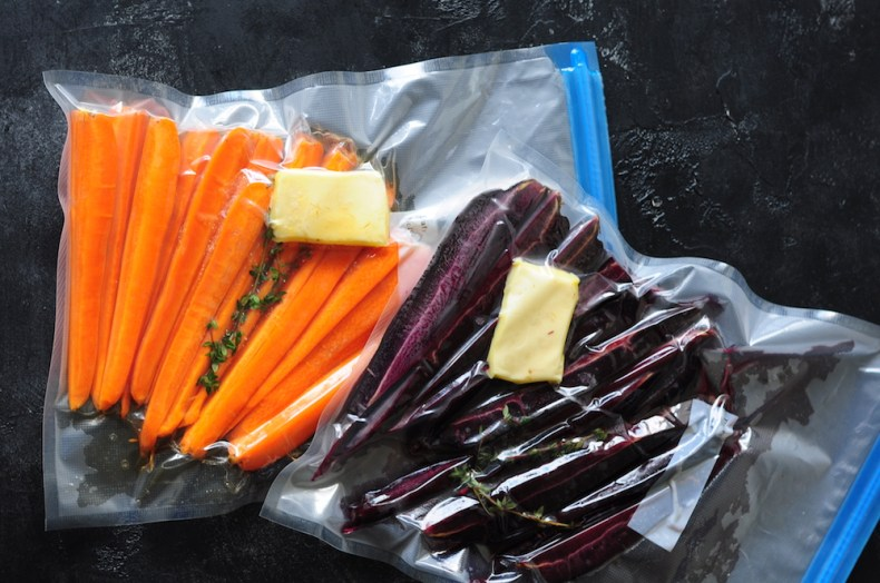 Carrots in sealed sous vide bags
