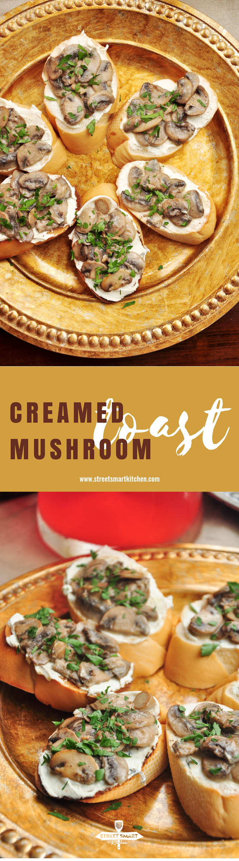 Mushrooms cooked with white wine and cream, then topped onto warm toast spread with garlicky cream cheese. Creamed mushroom toast for the win!