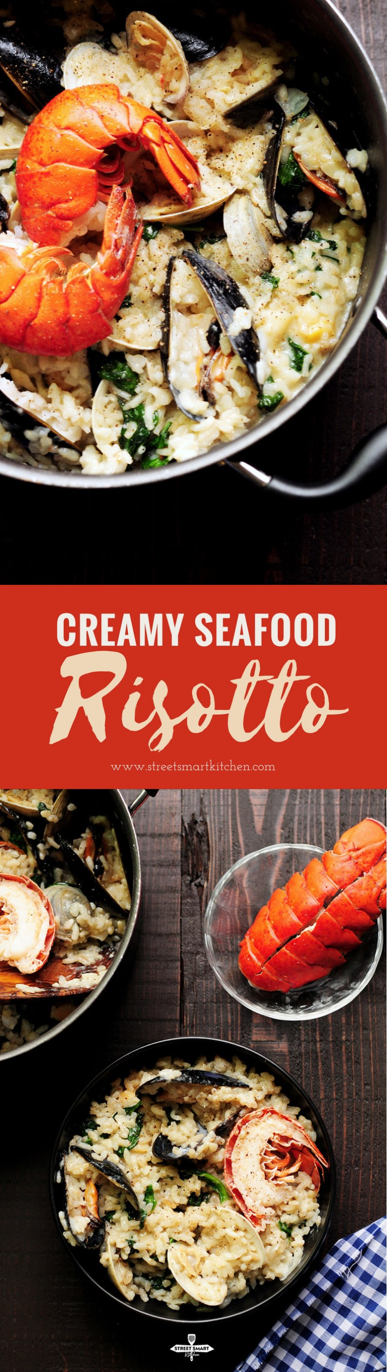 Creamy seafood risotto recipe dedicatedly simmered in lobster stock and heavy cream with clams, mussels, bay scallops, lobster tails, and spinach. It's a perfect date-night-in dinner or for any special occasions.