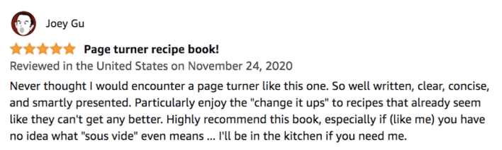 Customer Review 1 for Complete Sous Vide Cookbook