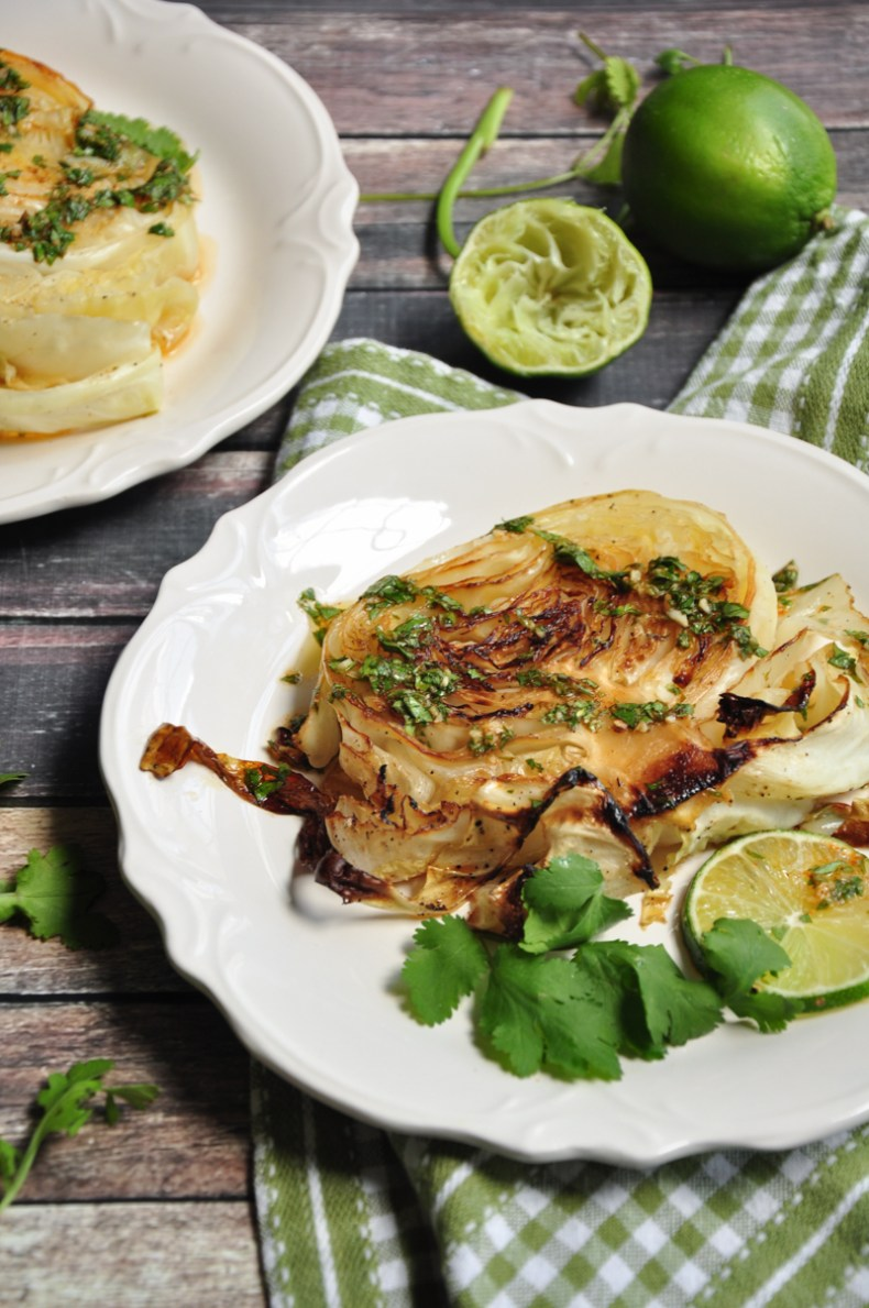 These roasted cabbage steaks drizzled with a refreshing cilantro lime sauce to intensify the flavor satisfy both vegetarians and meat-eaters alike.