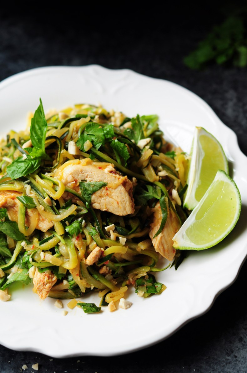 A flavorful, healthy meal that replaces pasta with low-calorie and nutrient-rich zucchini. This one-pan spicy chicken zucchini noodles recipe is ready within 30 minutes, perfect for a busy weeknight.