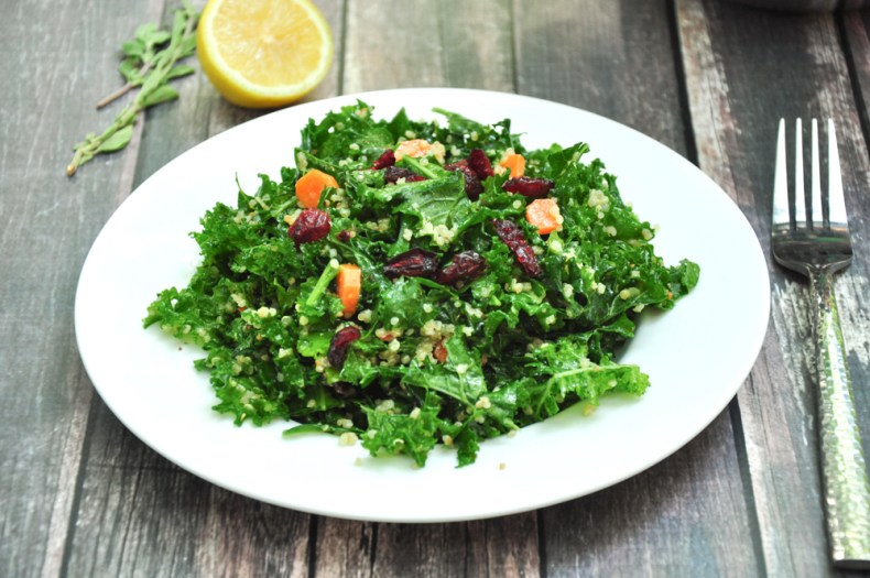 Have you ever had a meal where you distinctively remember the side dish but not the main? Side dish stealing the thunder of the main dish doesn't happen very often, but when it does, you don't forget. This Kale Quinoa Salad with Oregano Lemon Vinaigrette is one of these side dishes.