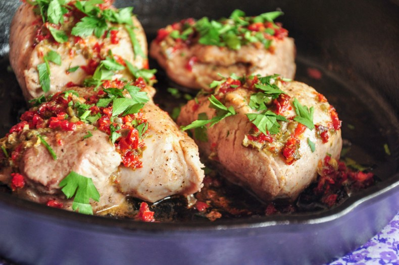 Pork Tenderloin with Sun-Dried Tomatoes & Capers